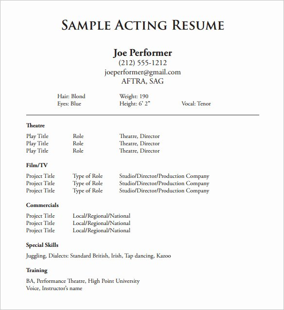 Child Actor Resume Template Elegant Acting Resume Template 7 Free Word Excel Pdf format