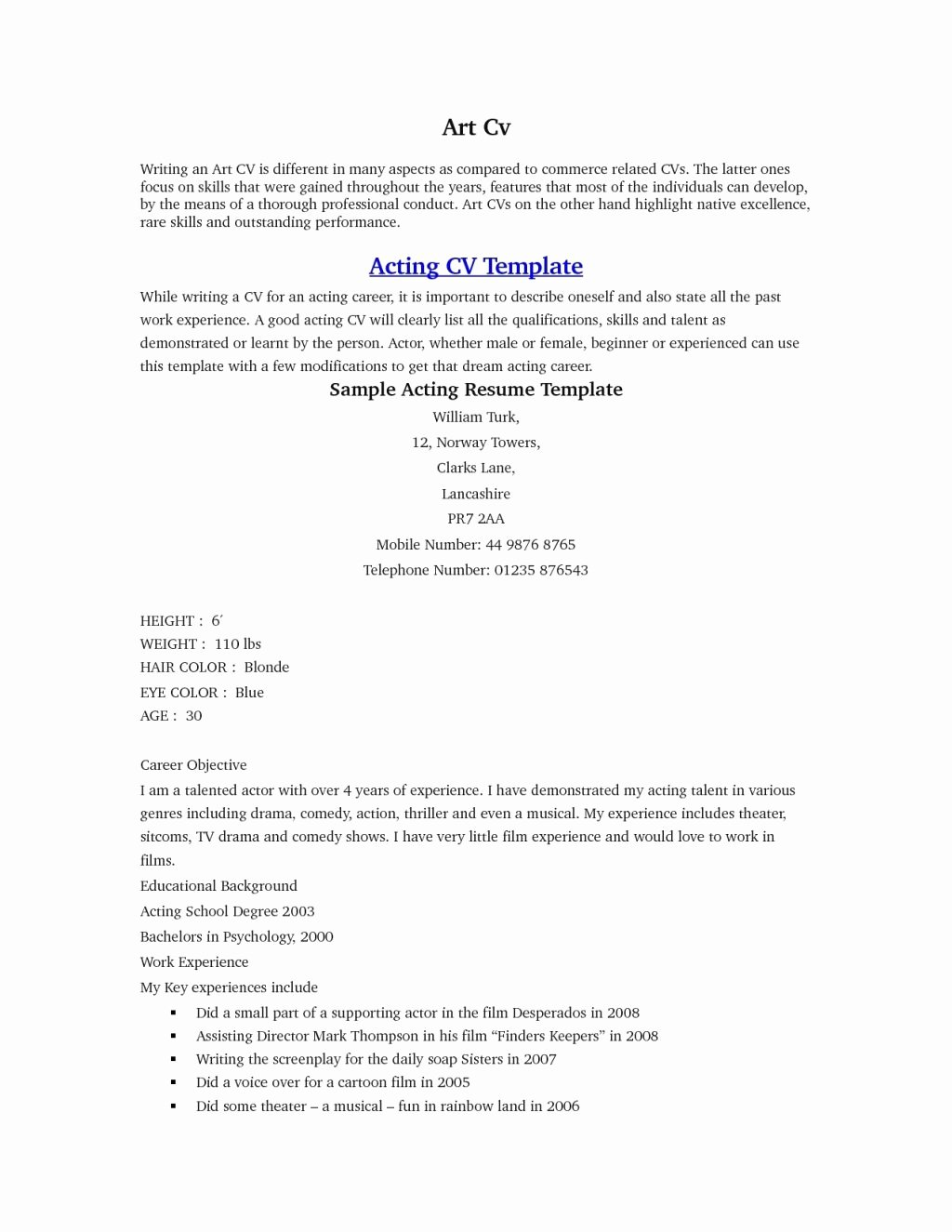 Child Actor Resume Template Elegant Child Actor Resume Example Template Tag 50 Beginner Child