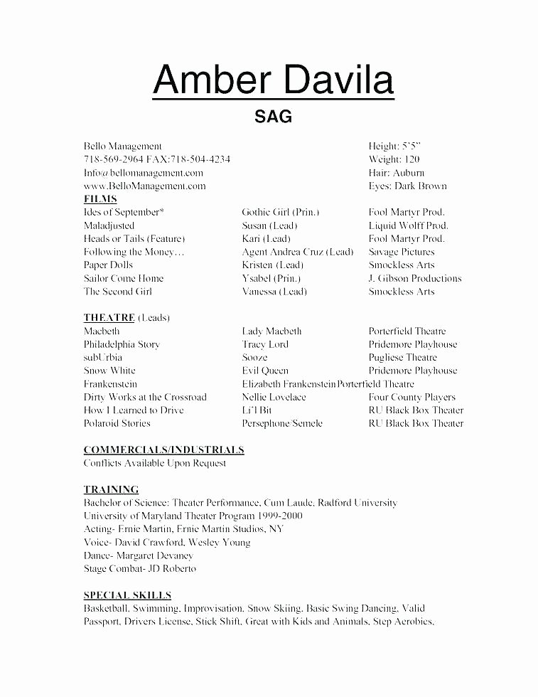 Child Actor Resume Template Fresh Child Resume Amosfivesix