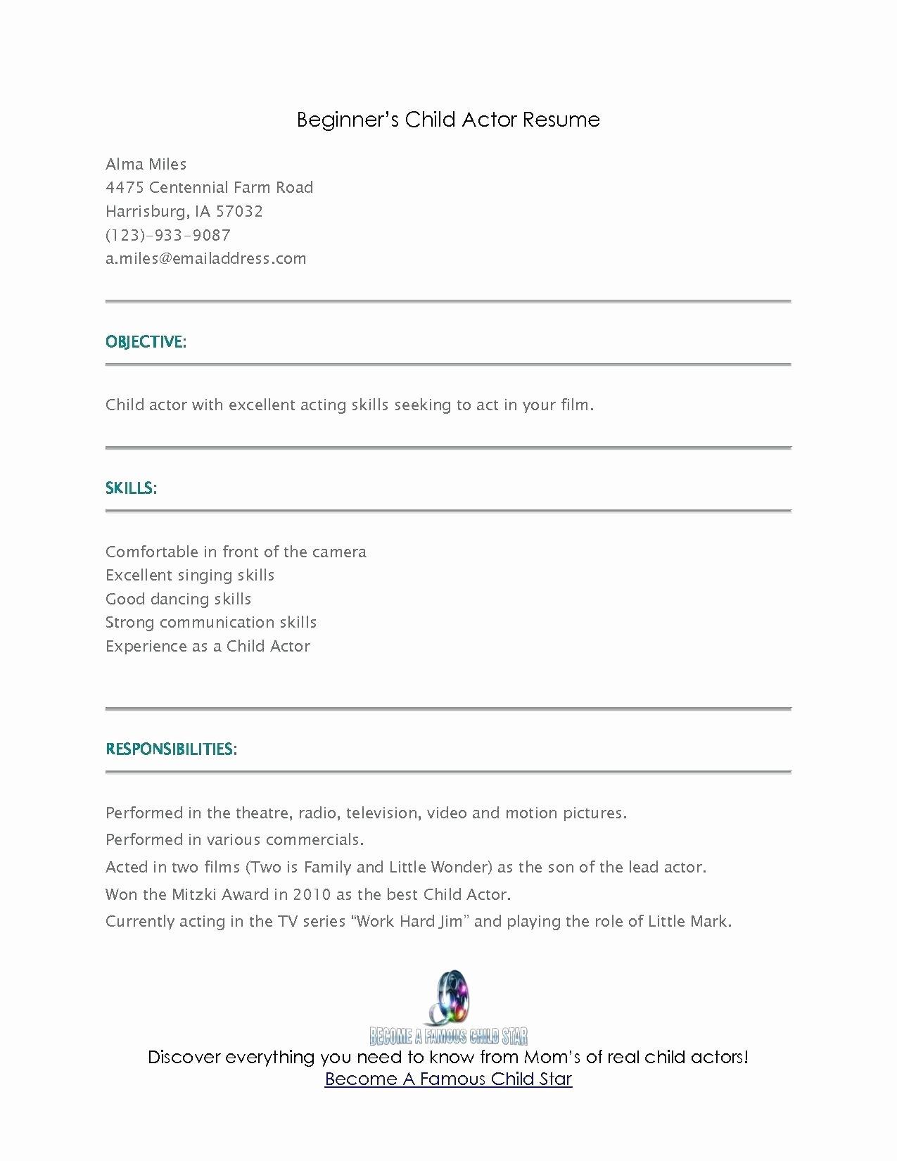 Child Actor Resume Template Fresh Resume Beginner Resume