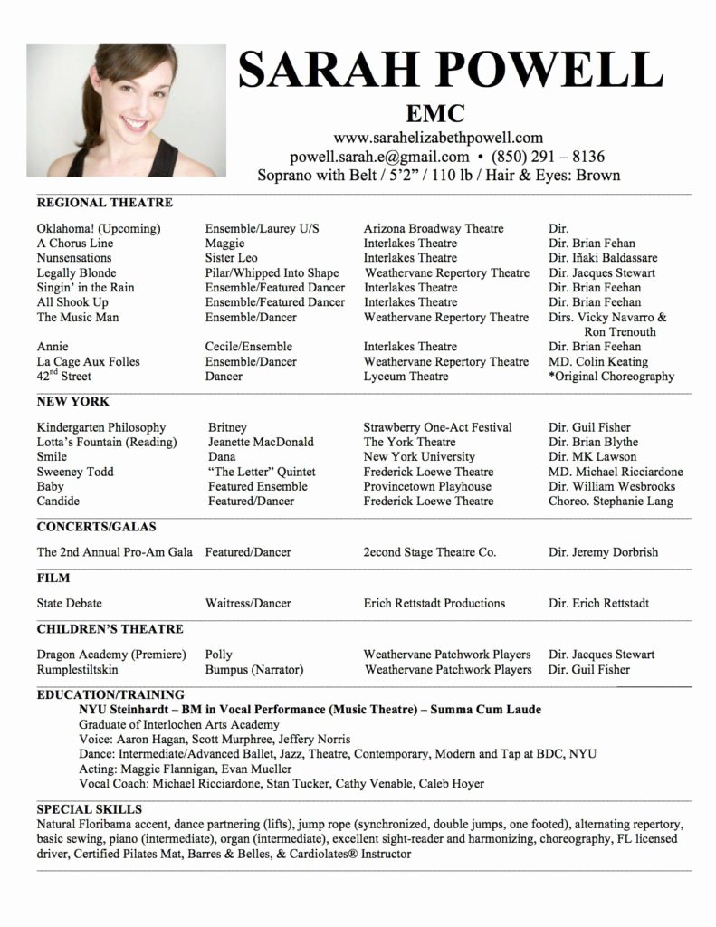 Child Actor Resume Template Inspirational Free Acting Resume Template Download for Child Model