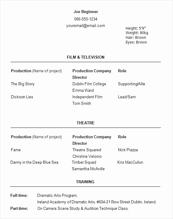 Child Actor Resume Template Inspirational Resume Templates for Actors Beginner Acting Template