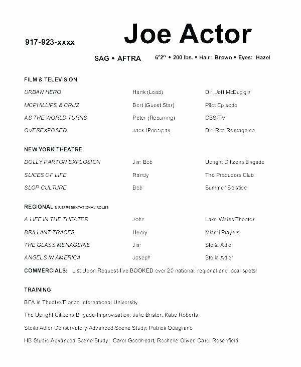 Child Actor Resume Template Lovely Resume Child Acting Resume Template No Experience Lvn