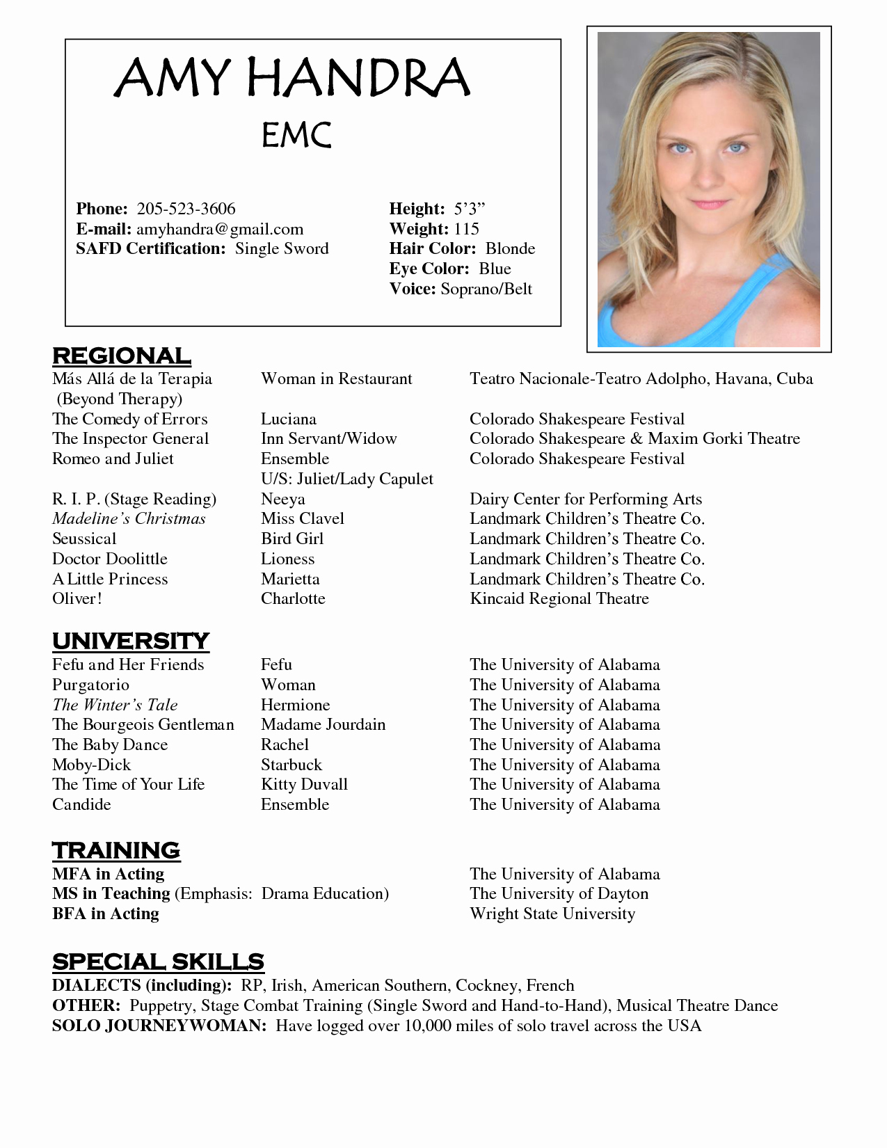 Child Actor Resume Template New Acting Resume Sample Free O