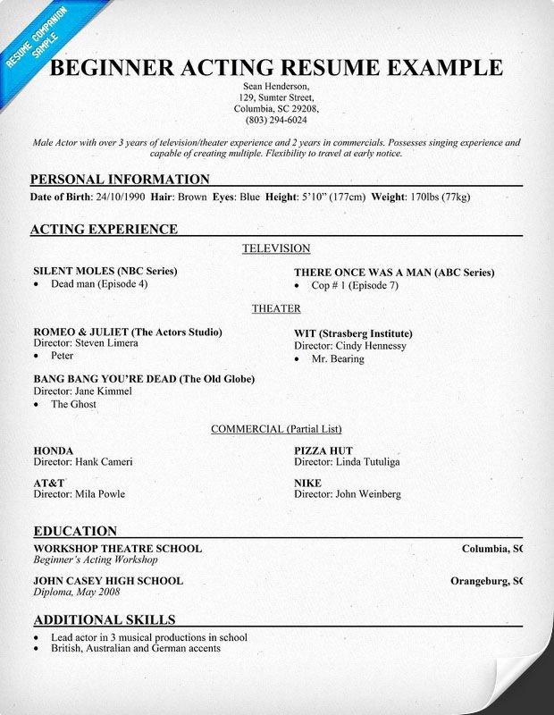 Child Actor Resume Template Unique Free Beginner Acting Resume Sample Resume Panion