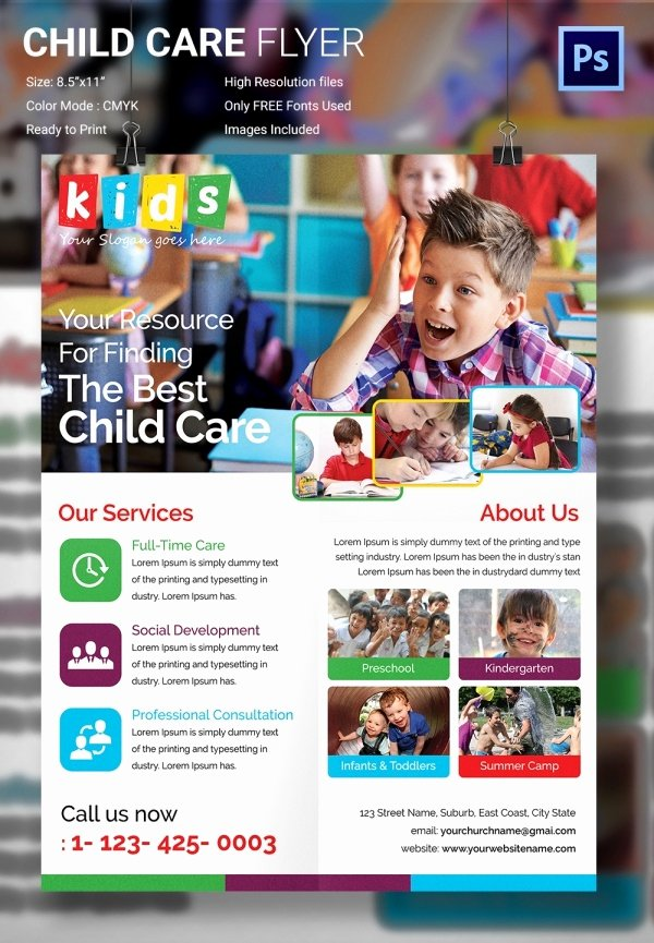 Child Care Flyer Template Awesome Daycare Flyer Template 27 Free Psd Ai Vector Eps