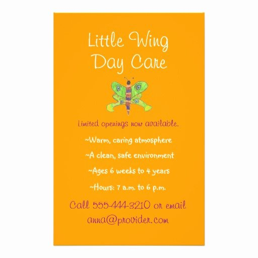 Child Care Flyer Template Best Of Day Care Promotional Flyers Day Care Promotional Flyer