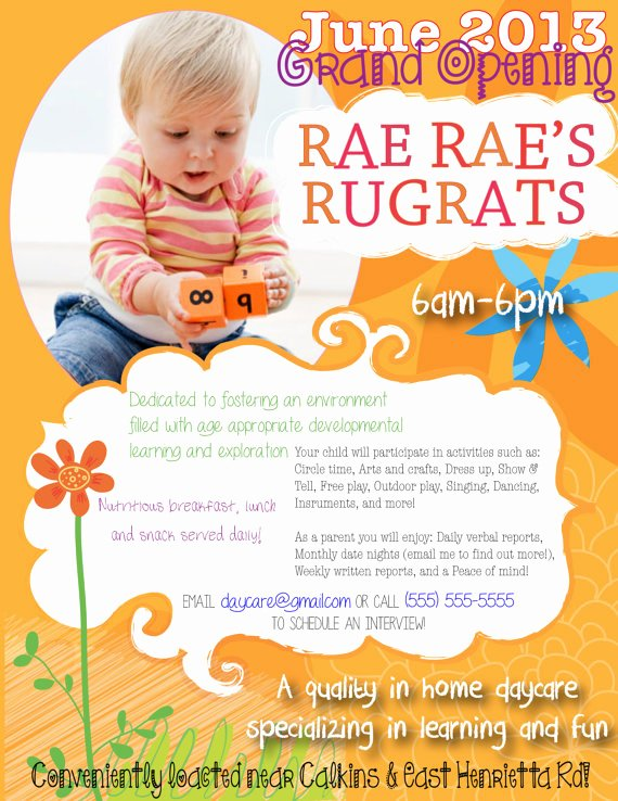 Child Care Flyer Template Elegant Daycare Open House Flyer Template Yourweek A96e75eca25e