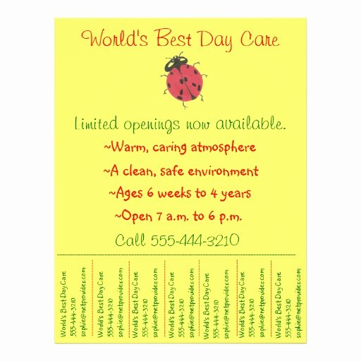 Child Care Flyer Template Fresh Child Care Flyer Day Care Flyer W Tear Off Info