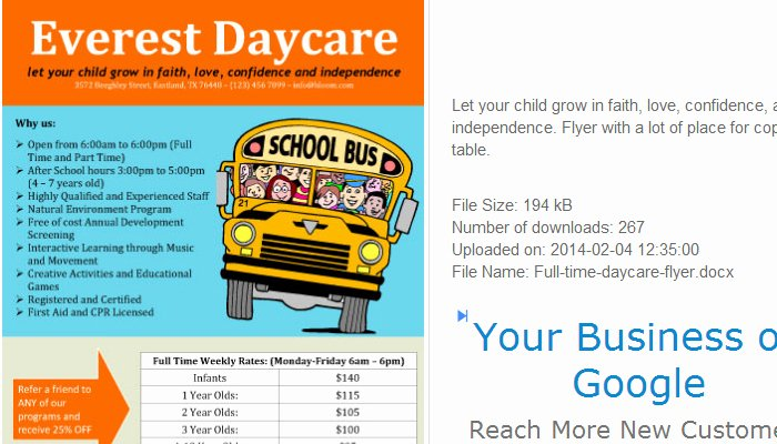 Child Care Flyer Template Inspirational 5 Daycare Flyers Templates