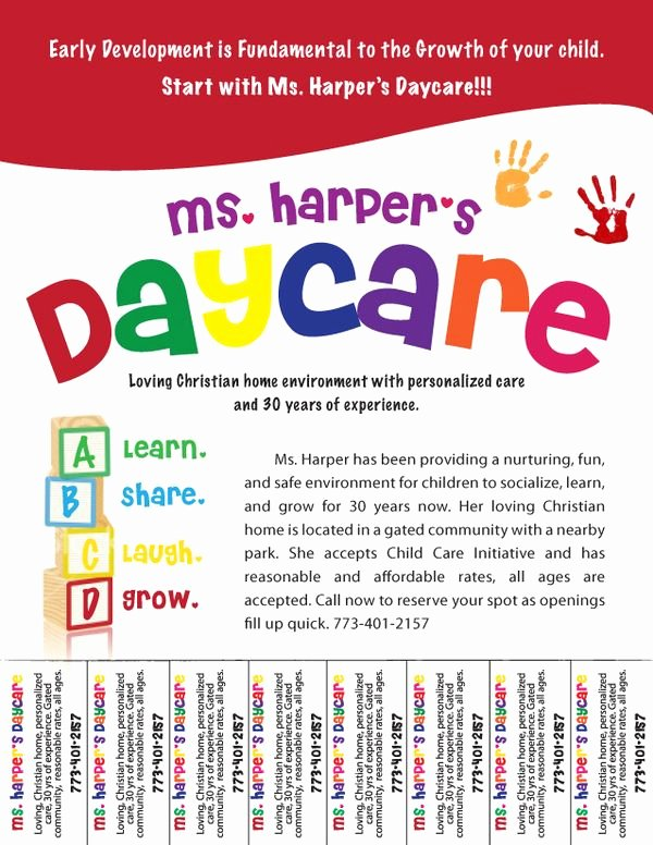 Child Care Flyer Template Lovely Free Daycare Flyers