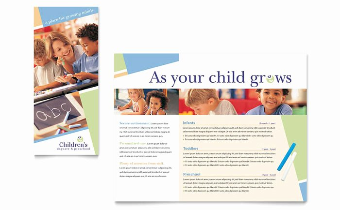 Child Care Flyer Template Unique Child Care & Preschool Brochure Template Design