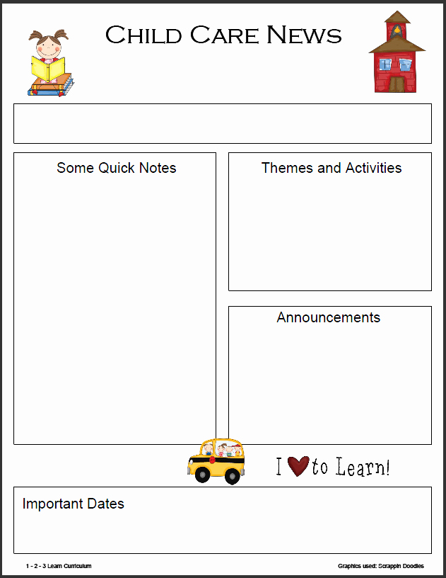 Child Care Newsletter Template Awesome 1 2 3 Learn Curriculum Monthly Newsletter Templates