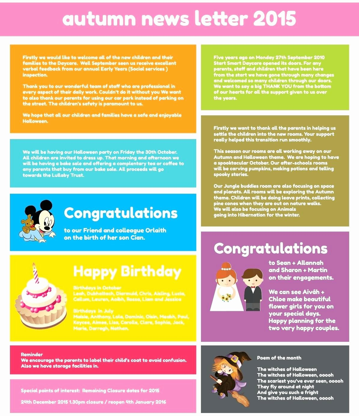 childcare newsletter template