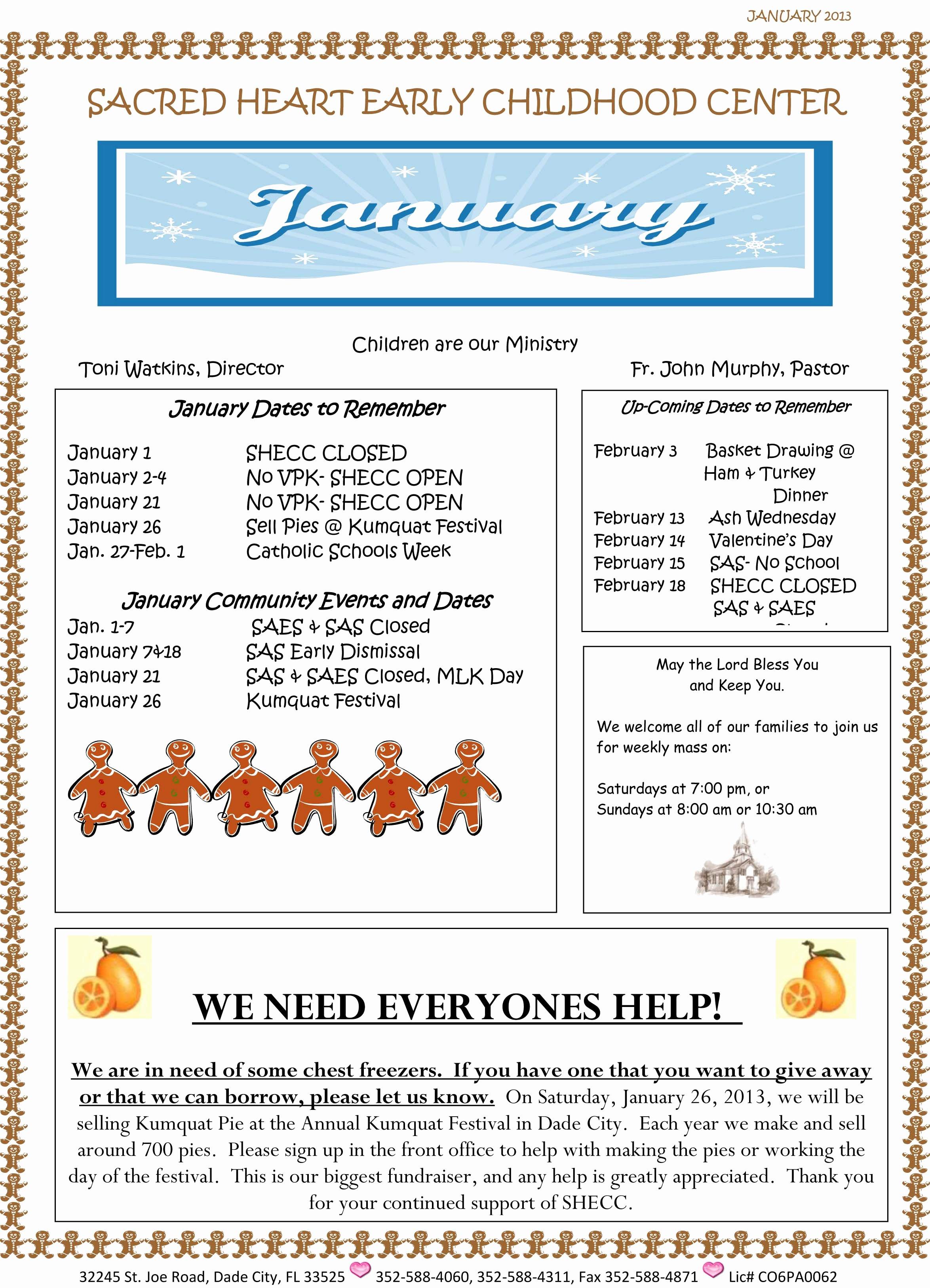Child Care Newsletter Template Fresh January 2013 Newsletter – Sacred Heart Early Childhood Center