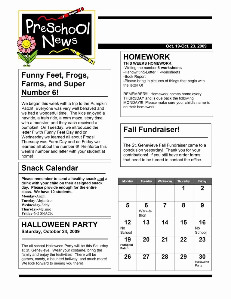 Child Care Newsletter Template Inspirational Newsletter Basic Calendar is An Interesting Idea Maybe