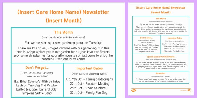Child Care Newsletter Template Lovely Care Home Newsletter Writing Template Care Home Newsletter