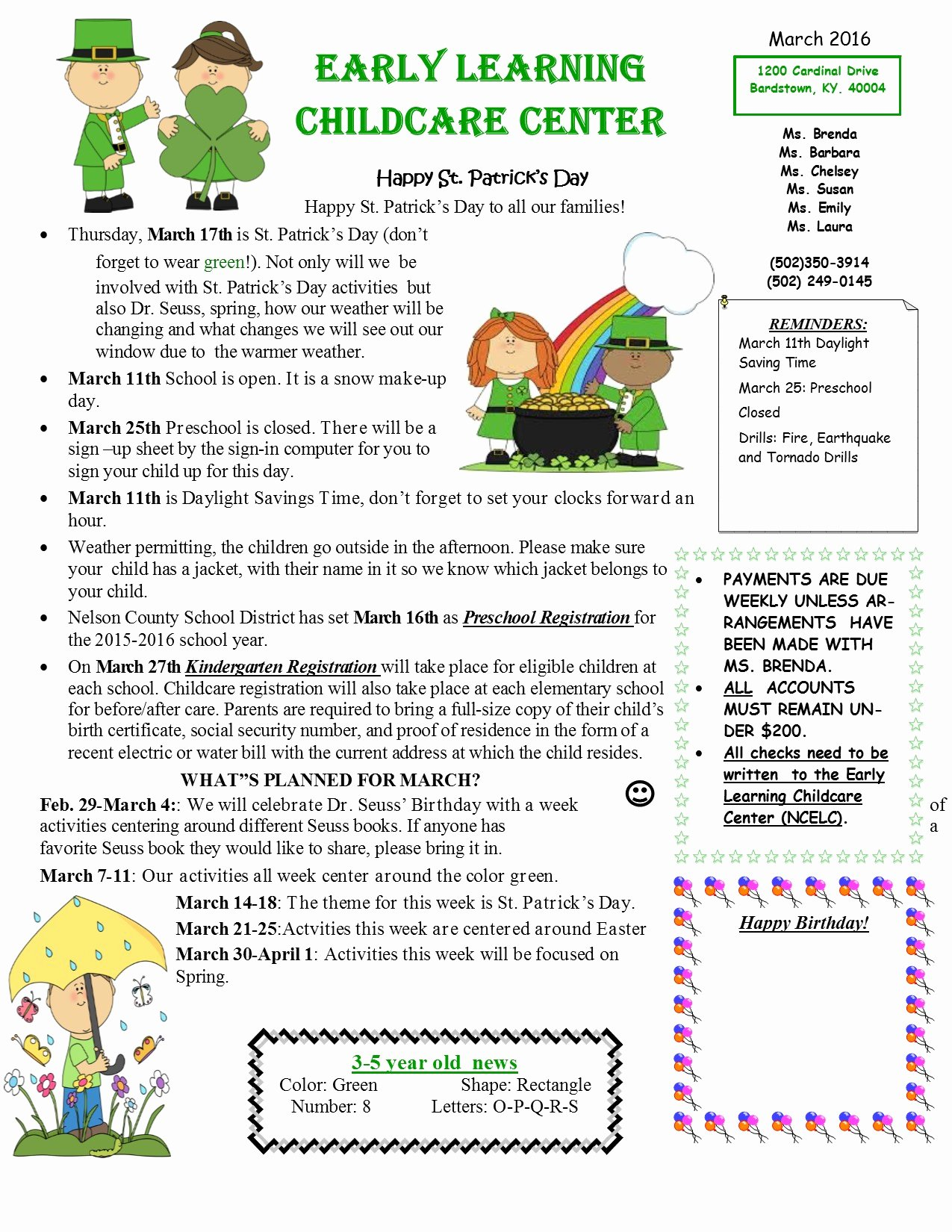 Child Care Newsletter Template Lovely March Early Learning Childcare Center Newsletter 2016