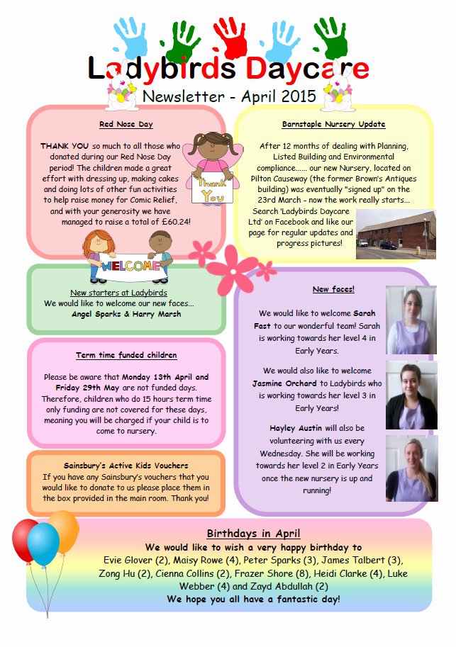 Child Care Newsletter Template New 18 Of October Day Care Monthly Newsletter Template