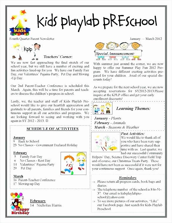 Child Care Newsletter Template Unique Child Care Newsletter Template New Editable Newsletter