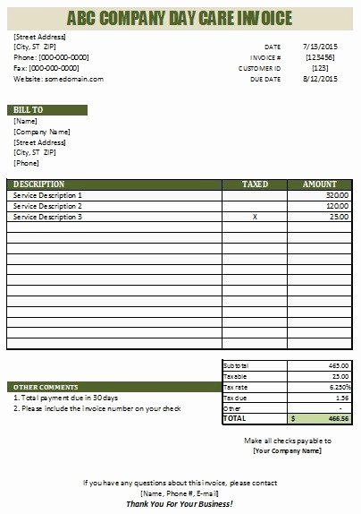 Child Care Receipts Template Best Of 27 Day Care Invoice Template Collection Demplates