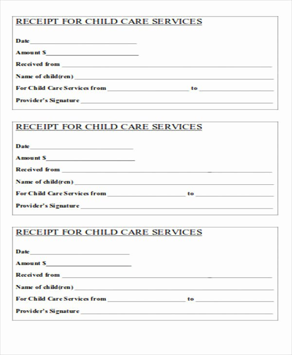 Child Care Receipts Template Fresh 39 Free Receipt forms