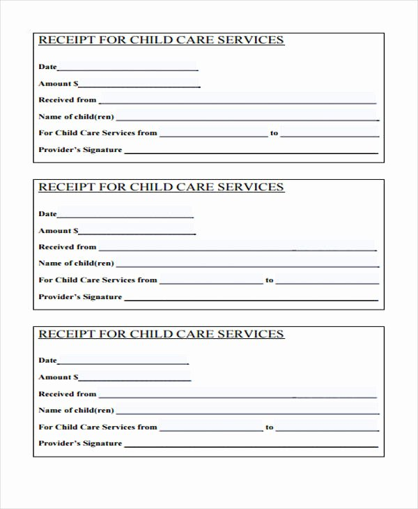 Child Care Receipts Template Fresh Printable Receipt forms 41 Free Documents In Word Pdf