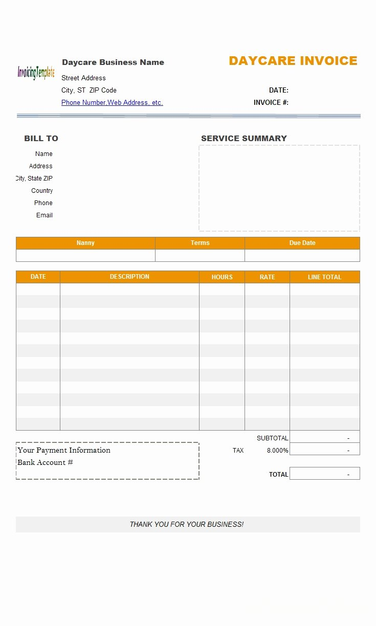 Child Care Receipts Template Inspirational Download Child Care Invoice Template Free