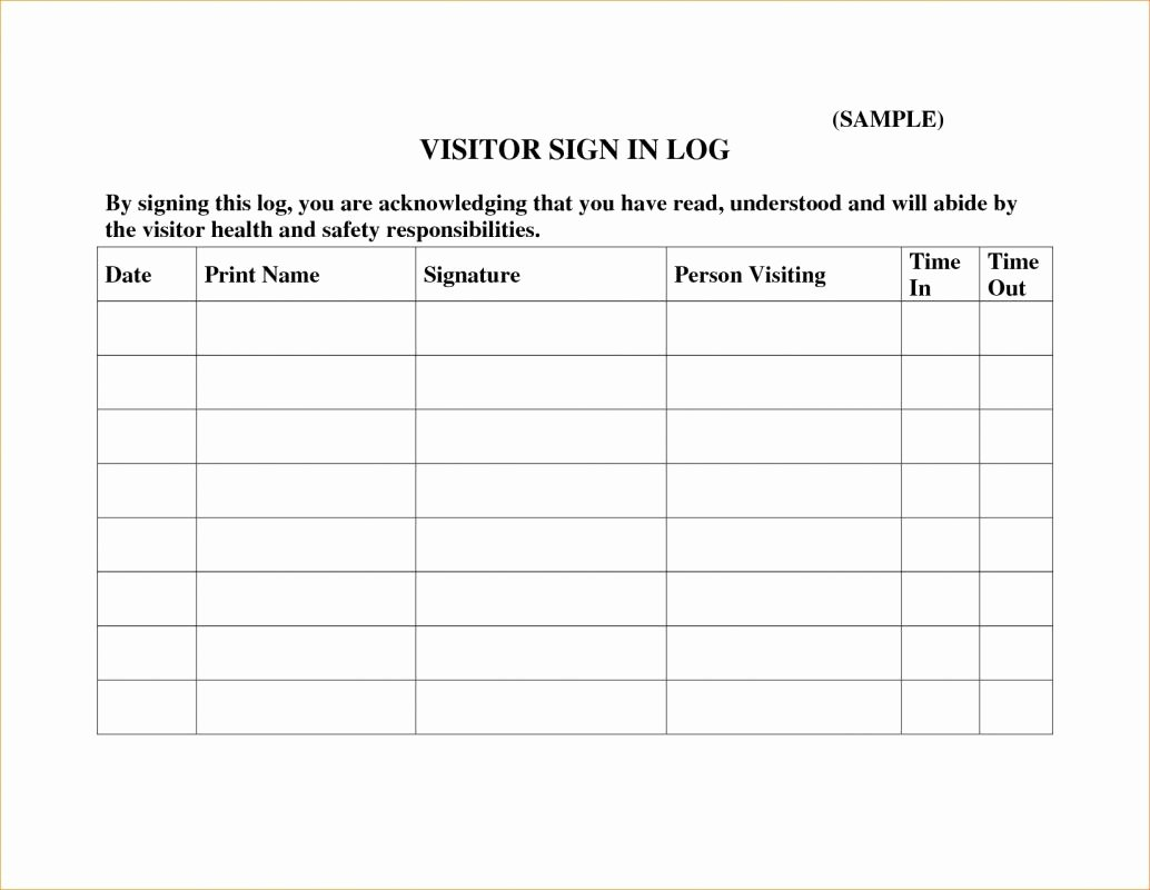 Child Visitation Log Template Best Of Visitor Sign In Sheets
