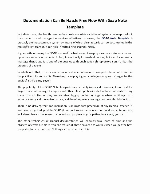 Chiropractic soap Notes Template Inspirational Template Nurses Massage soap Note Template Medical Notes
