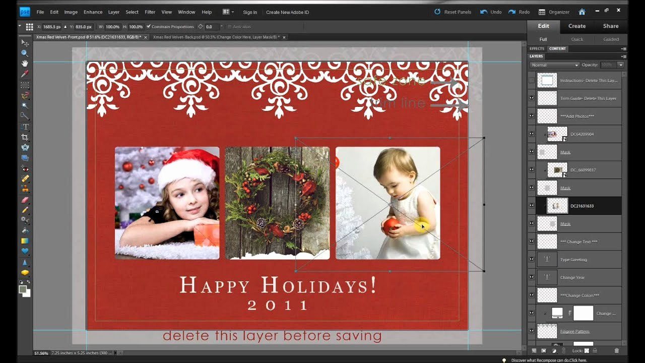 Christmas Card Template Photoshop Best Of How to Make Free Holiday Christmas Card Edits In Shop