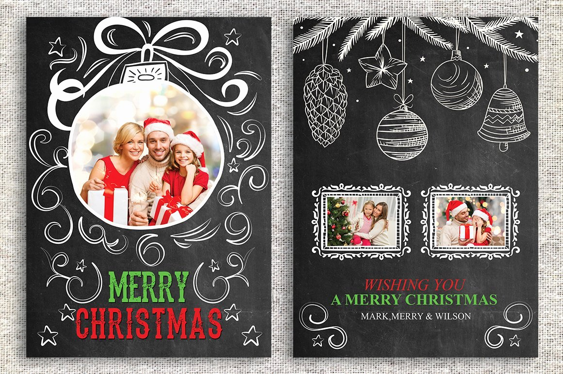 Christmas Card Template Photoshop Elegant Christmas Card Template Card Templates Creative Market