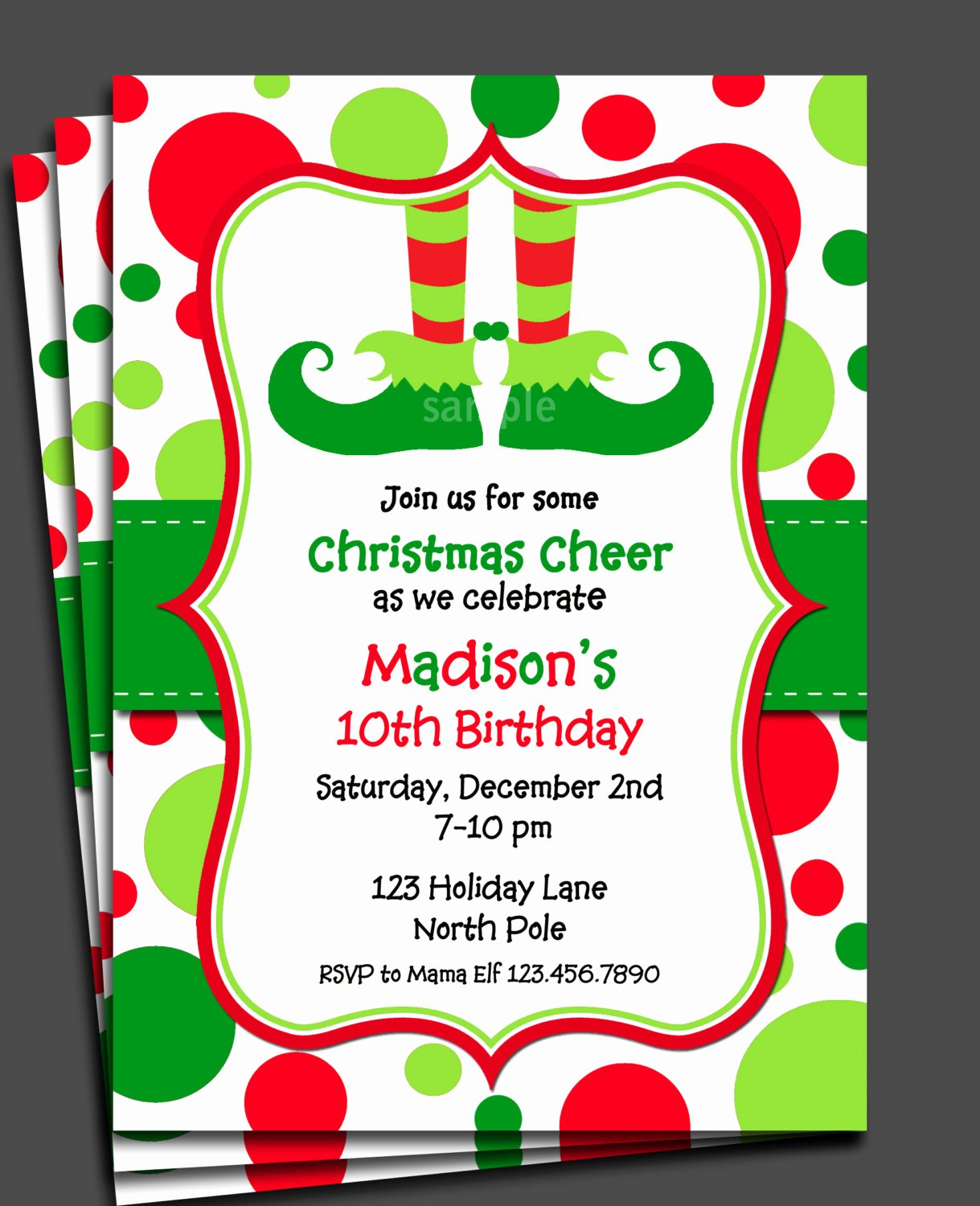 Christmas Party Invite Template Beautiful Christmas Elf Invitation Printable or Printed with Free