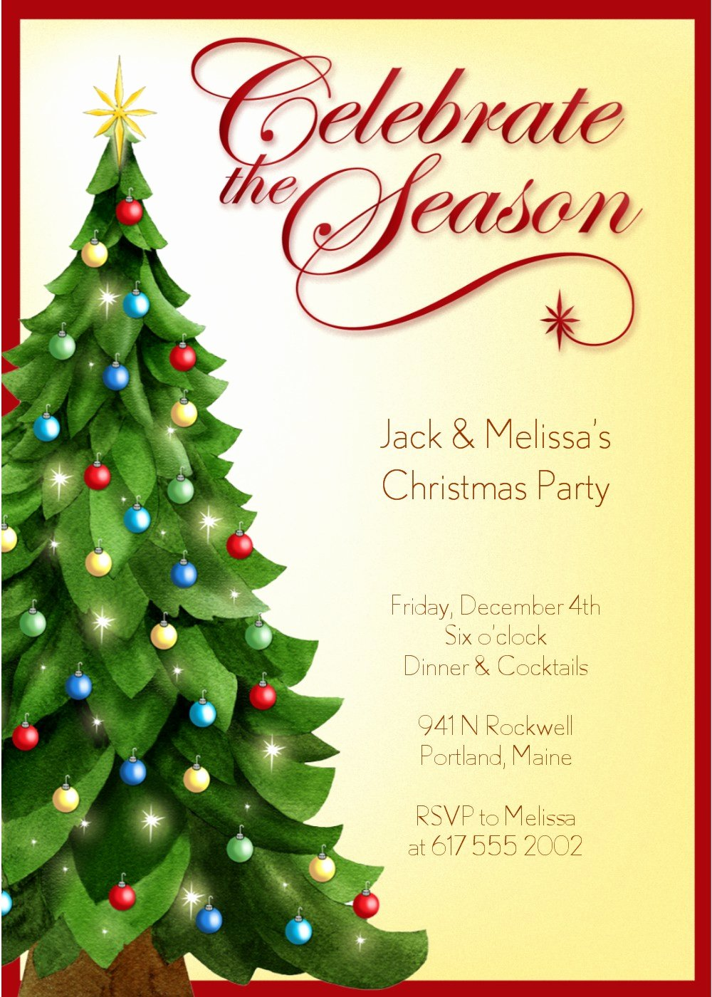 Christmas Party Invite Template Beautiful Christmas Invitation Template