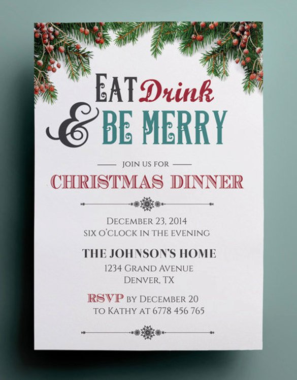 Christmas Party Invite Template Best Of 49 Dinner Invitation Templates Psd Ai Word