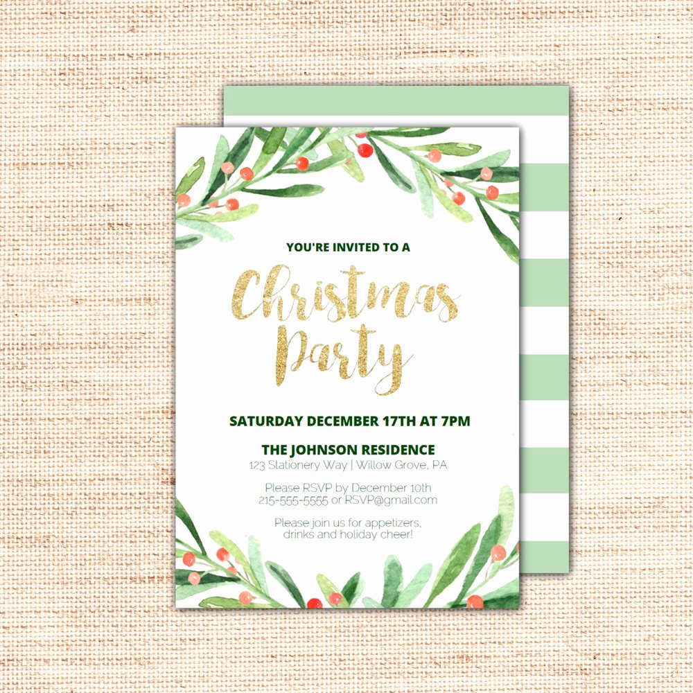 Christmas Party Invite Template Inspirational Holly Wreath Printable Christmas Party Invitation Template