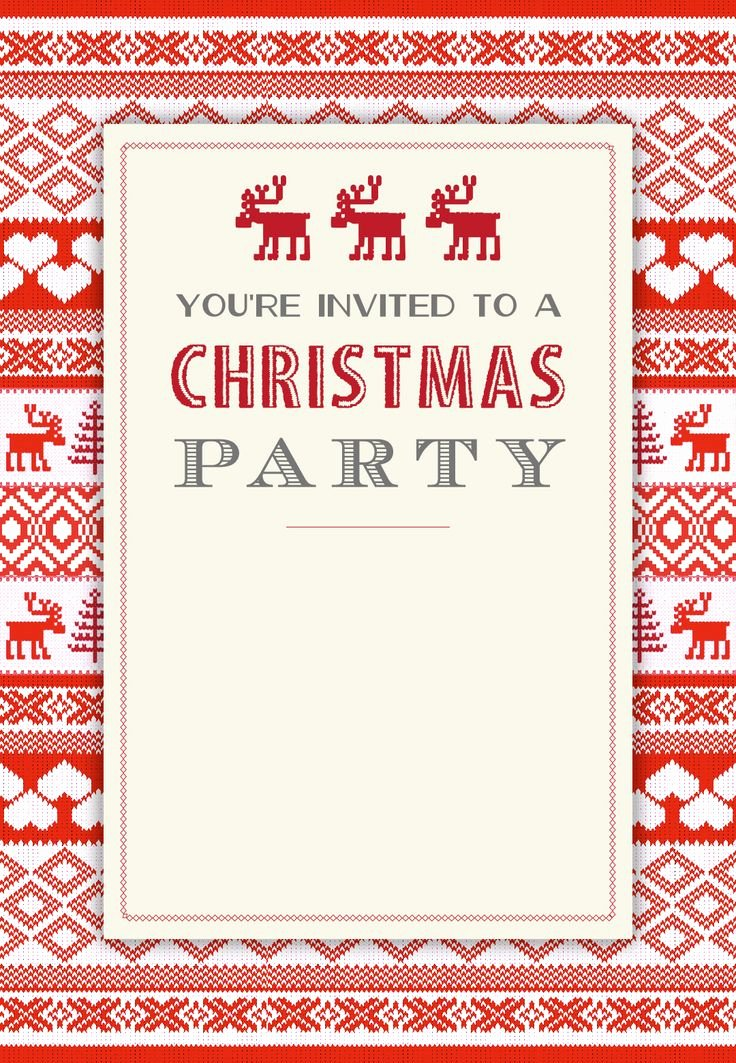 Christmas Party Invite Template Lovely Sweaters Pattern Free Printable Christmas Invitation