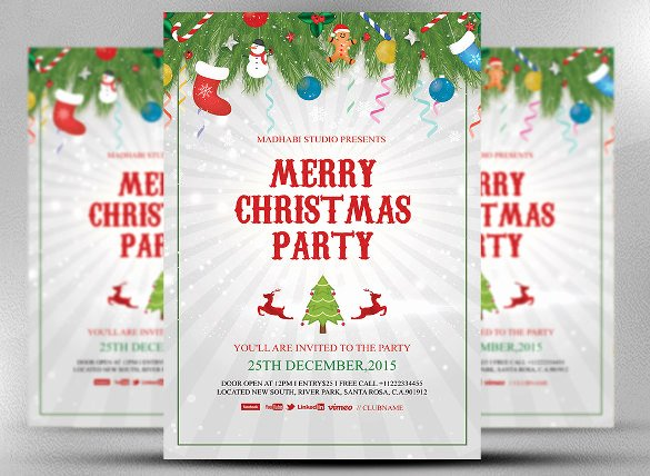 Christmas Party Invite Template Luxury 20 Christmas Invitation Templates Free Sample Example