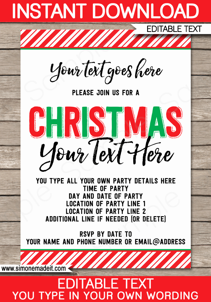 Christmas Party Invite Template Luxury Printable Christmas Party Invitations