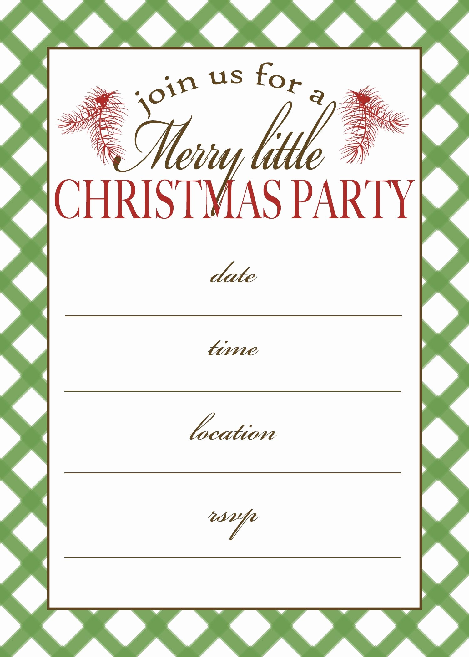 Christmas Party Invite Template New Free Printable Christmas Party Invitation
