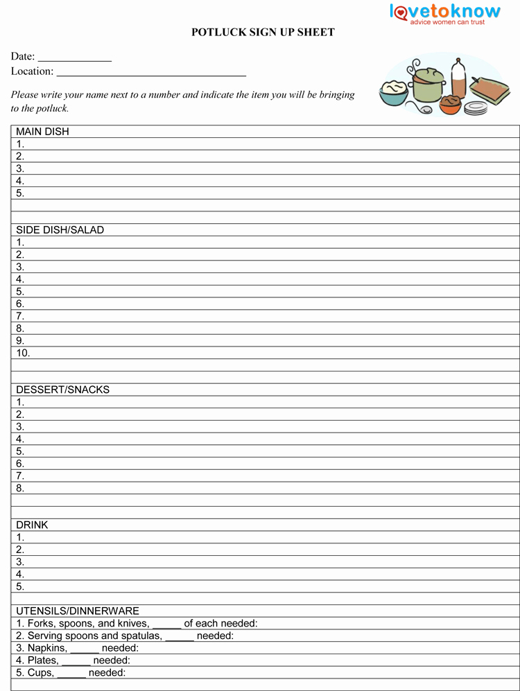 Christmas Potluck Signup Sheet Template Beautiful 26 Free Sign Up Sheet Templates Excel & Word