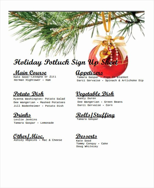 Christmas Potluck Signup Sheet Template Elegant 7 Potluck Signup Sheet Templates Free Sample Example