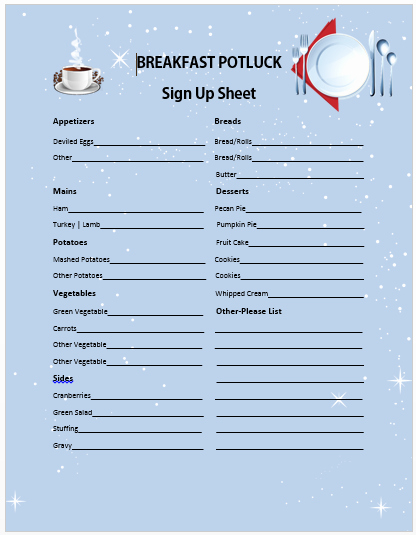 Christmas Potluck Signup Sheet Template Inspirational 13 Charming Breakfast Potluck Sign Up Sheets Free Word