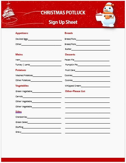 Christmas Potluck Signup Sheet Template New 60 Best Potluck Signup Sheets for Free 5th E Will