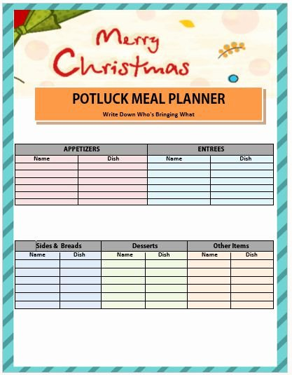 Christmas Potluck Signup Sheet Template Unique 13 Gorgeous Christmas Potluck Signup Sheets to Impress