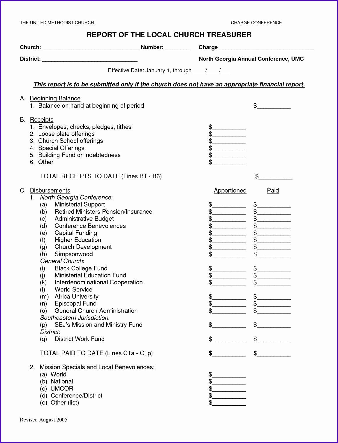 Church Financial Report Template Best Of 8 Treasurer Report Template Excel Exceltemplates
