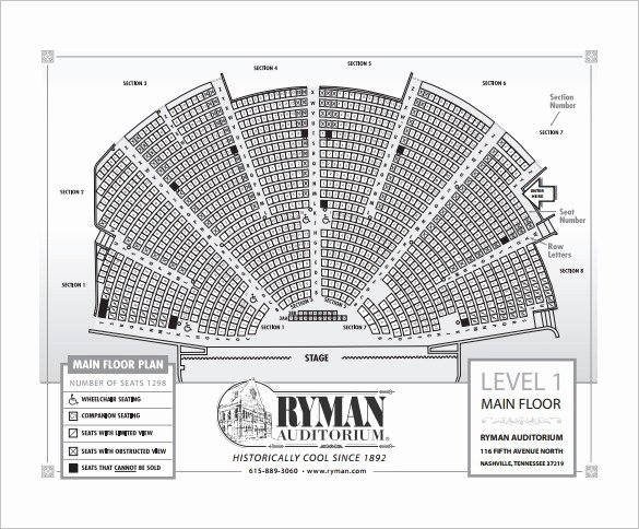 Church Seating Chart Template Best Of Ryman Auditorium Seating Chart Interactive