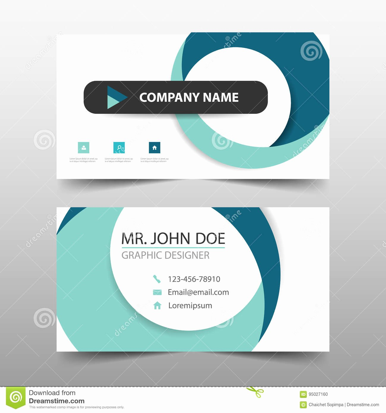 stock illustration blue circle corporate business card name card template horizontal simple clean layout design template business banner template image