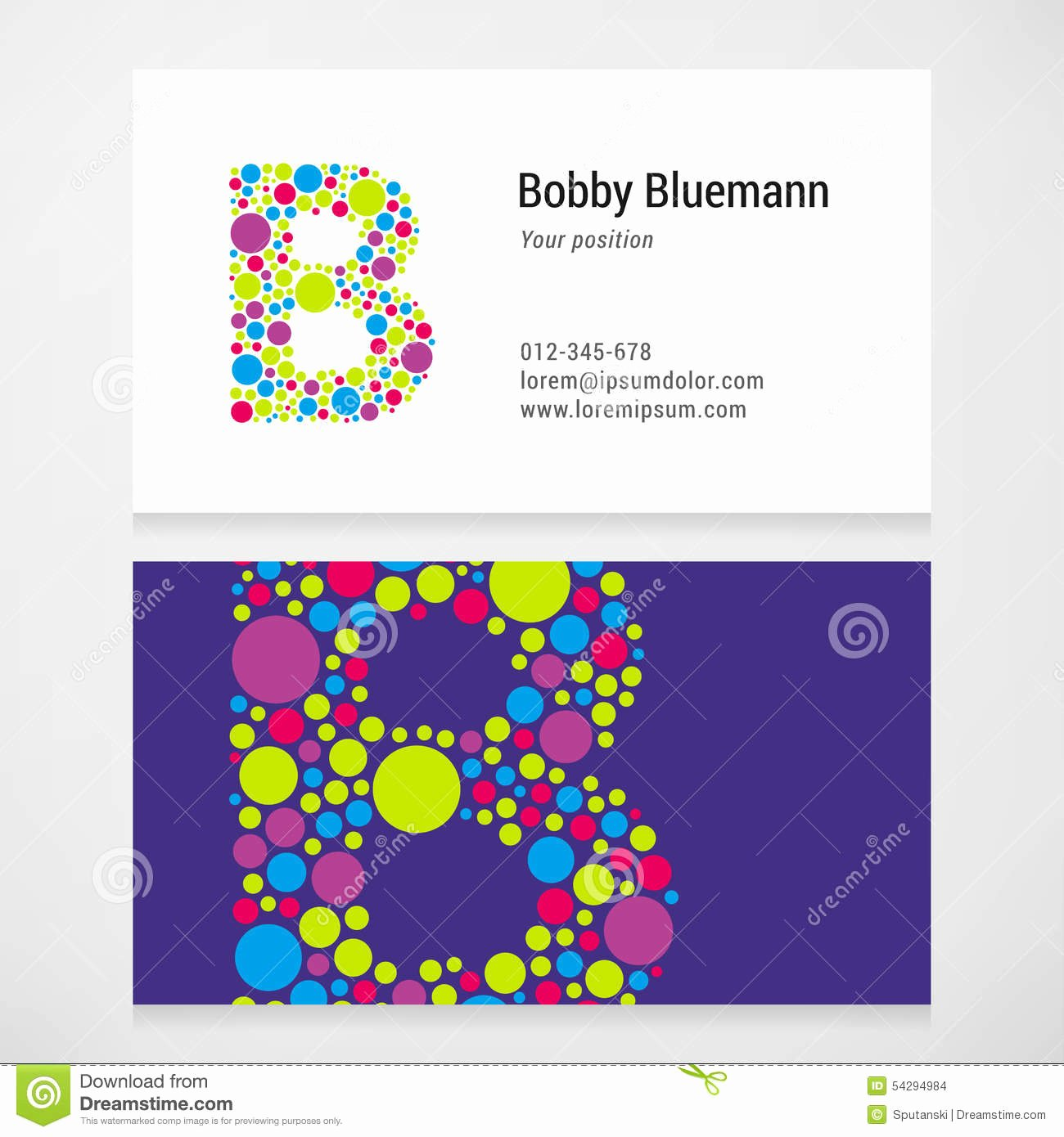 Circle Business Card Template Elegant Modern Letter B Circle Business Card Template Stock Vector