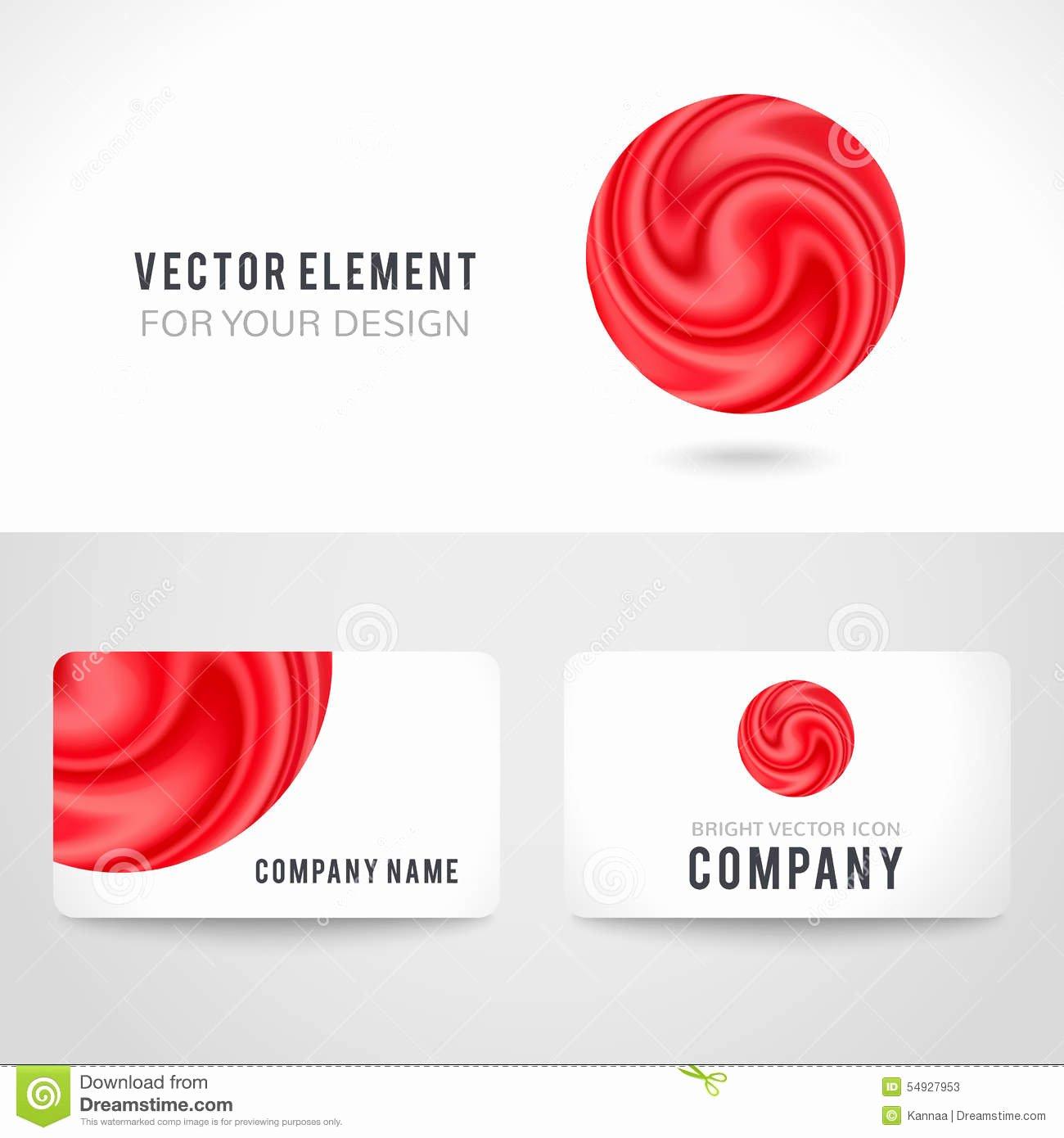 Circle Business Card Template Inspirational Business Card Template Set Abstract Red Circle Stock